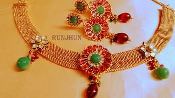 designer ruby and kundan stone  polki  necklace