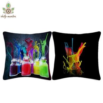 Color Splash Digital Print Cushion Covers