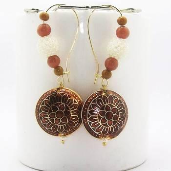 Meenakari Pendant Loop Earring Copper Brown