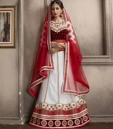 Buy Tantalizing Off White Embroidered Lehenga Choli punjabi-lehenga online