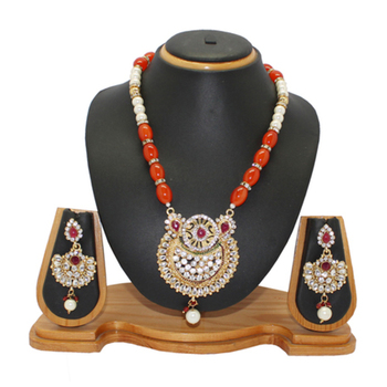 Orange studded_jewellery Diamond necklace-sets