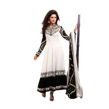 Hypnotex Faux Georgettte Off White Color Designer Dress Material Missindia5011