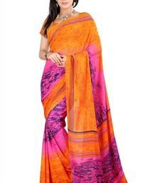 Buy Orange printed georgette saree with blouse printed-saree online