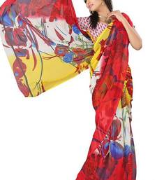 Buy Red printed georgette saree with blouse printed-saree online