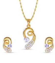 Buy Stylish American Diamond Pendant Set With Chain Pendant online