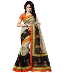 Buy beige  printed art silk sare with blouse bhagalpuri-silk-saree online