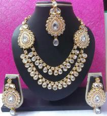 Two Side Brooch White Stone Wedding Necklace Set