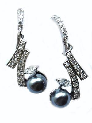 Grey Silver AD Office Hanging Earrings