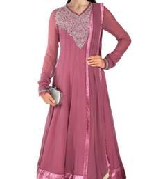 Buy purple georgette plain semi_stitched salwar with dupatta party-wear-salwar-kameez online