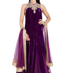 Buy purple velvet plain semi_stitched salwar with dupatta anarkali-salwar-kameez online