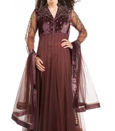 Buy brown net embroidered semi_stitched salwar with dupatta anarkali-salwar-kameez online