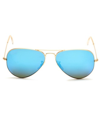 SuperDeals Golden Frame & Blue Glass Aviator Sunglasses For Men & Women