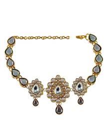 Buy stone studded gold platted bajubandh size adjustable bajuband online