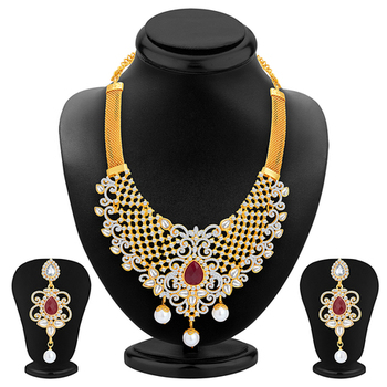 Sparkling Gold Plated AD Necklace Set For Women