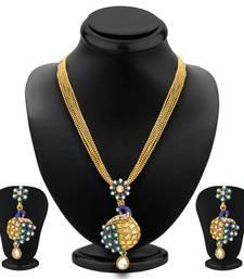 Buy Incredible Pecock Gold Plated Pendant Set For Women Pendant online
