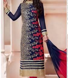 Buy Blue embroidered Georgette semi stitched salwar with dupatta ganpati-salwar online