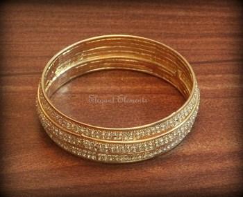2.4, bollywood style designer zircon stud gold plated bangle kada(1 pc.)
