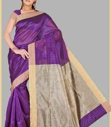 Buy Pavechas Mangalgiri Magenta Khicha Patti Saree cotton-saree online