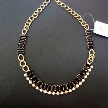 black resin and rhinestone necklace