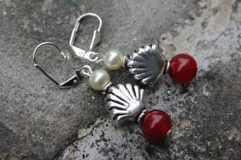 Maroon and Pearl Earrings
