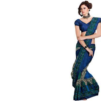 Hypnotex Bhagalpuri Blue Color Designer Saree Fig2322C
