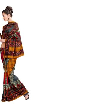 Hypnotex Bhagalpuri Yellow Color Designer Saree Fig2322D