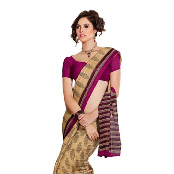 Hypnotex Bhagalpuri Cream Color Designer Saree Fig2336B