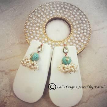 Mukhi Kundan Earing - Turquoise