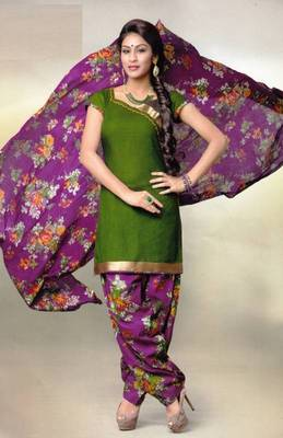 Pichkari Patiyala Dress Material (Printed) Cotton Unstitched with Boarded laces D.No PD145
