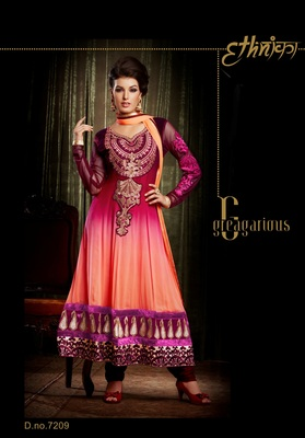Indian Designer Peach Bemberg Georgette Churidar Kameez Anarkali Dresses, Dress