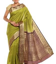 Buy Green Plain Tussar Silk saree with blouse tussar-silk-saree online