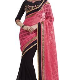 Buy pink and black embroidered georgette saree with blouse party-wear-saree online