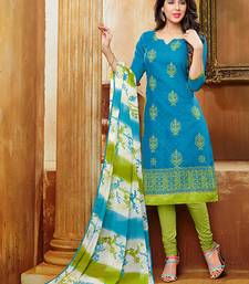 Buy Sky Blue Embroidered jacquard unstitched salwar with dupatta indian-dress online