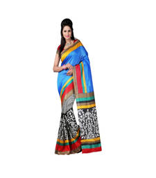 Buy Blue and Black and Red printed printed silk saree with blouse party-wear-saree online