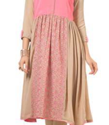 Buy Voguish Beige And dusty Pink Color Georgette Fabric Kurti heavy-work-kurti online