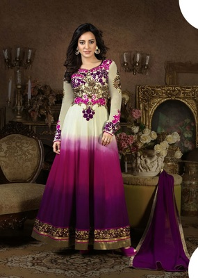 White and purple georgette embroidered semi_stitched salwar with dupatta