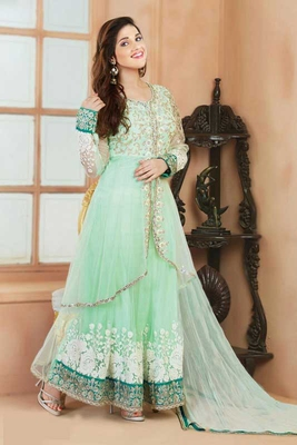 Light green chanderi embroidered semi_stitched salwar with dupatta