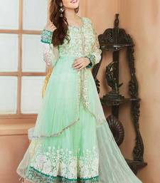 Buy Light green chanderi embroidered semi_stitched salwar with dupatta anarkali-salwar-kameez online
