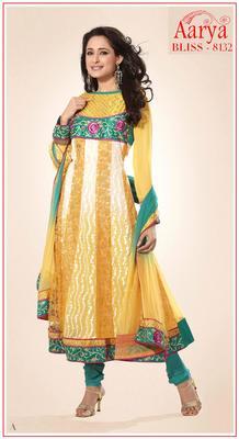 Yellow Wrinkle Georgette Anarkali Suit