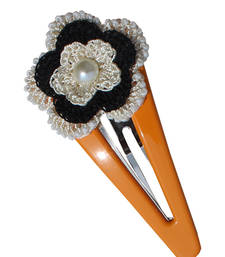 Buy Orange Tic-Tac Hair Clip with Attractive Crochet Motif hair-accessory online