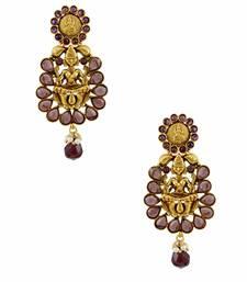Buy Purple Temple Dangle and Drop Earrings Jewellery for Women - Orniza Earring online