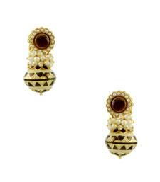 Buy Golden Beige Traditional Rajwadi Dangle Earrings Jewellery for Women - Orniza Earring online