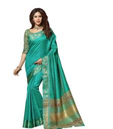 Buy GREEN embroidered art_silk saree with blouse party-wear-saree online