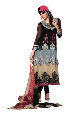 Fabdeal Peach Colored Crepe Jacquard Semi-Stitched Salwar Suit