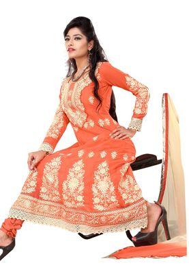 Fabdeal Orange Colored Faux Georgette Semi-Stitched Salwar Suit