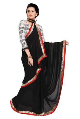 Gorgeous Elegant Georgette Designer Saree With Silk Blouse Piece D.No A7053