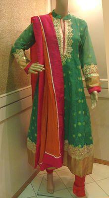 Light Green Gold Lace Anarkali