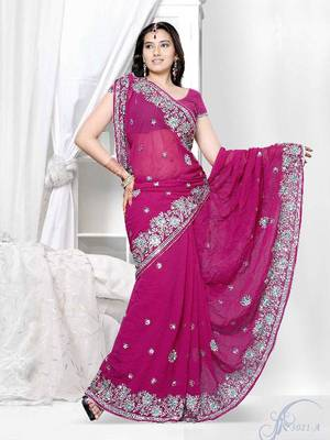 Alluring Designer Saree made from Crushed Georgette by DIVA FASHION-Surat