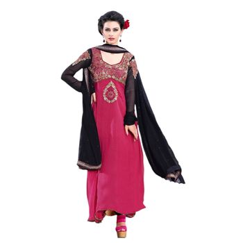 Hypnotex Net Pink Color Designer Dress Material Azzam1113