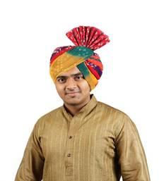 Buy eKolhapuri Panchrangi Jodhpuri Bandhej Cotton Pheta (Turban) men-festive-wear online